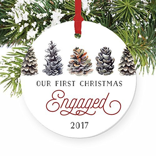Pinecone Our First Christmas Engaged Ornament, Engagement Gifts for Couples Fiance Fiancee 1st Xmas Pine Cone Country 3