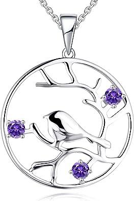 JO WISDOM collier pendentif arbre de vie Yggdrasil argent 925 femme AAA zirconium