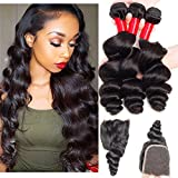 VIPbeauty Virgin Loose Wave Hair Brazilian 3 Bundle Deals With Free part Closure Natural Black 100% Unprocessed Human Hair 95-100g/pc(18 20 22 with 14) For Sale