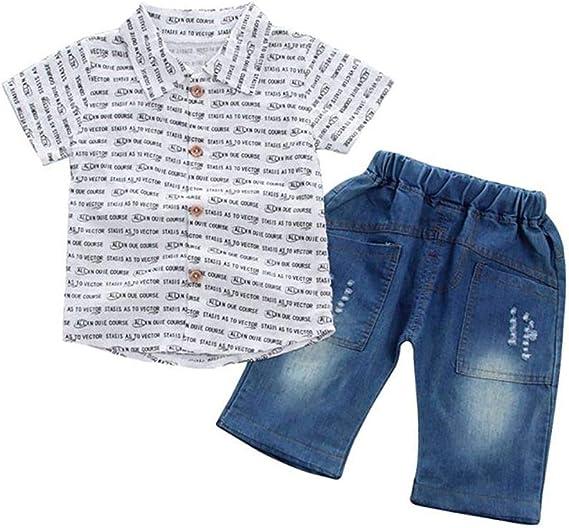 2PCS Enfants Bébé Fille Vêtements Tenues T-Shirt Haut Jeans Homme Ensemble