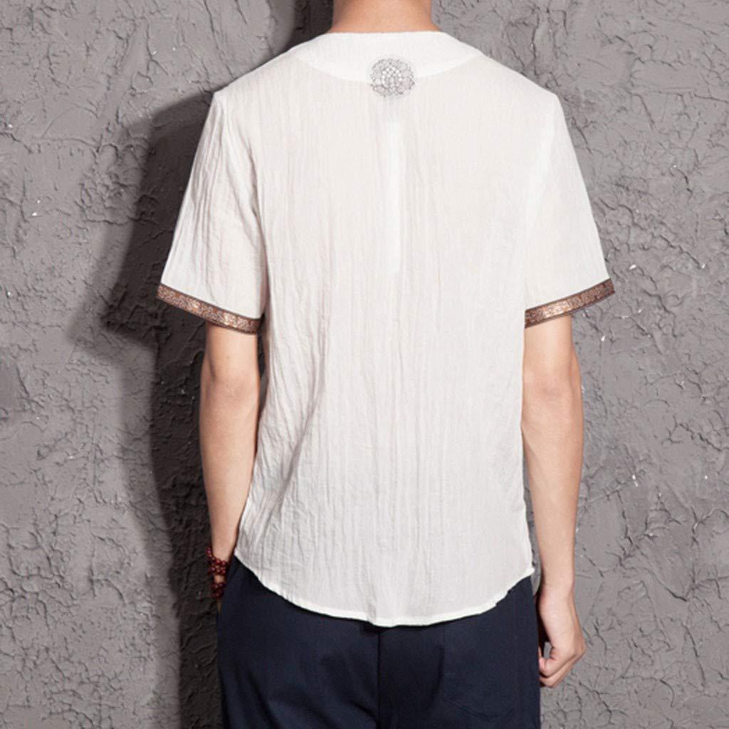 Mens Cotton Linen T Shirts Short Sleeve Slim Fit Retro V Neck Button Up Tee Tops Blouse