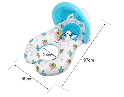 Goodid Flotador para Bebé y Madre Flotador de Natación Hinchable con Toldo y Posavasos Hinchable Madre