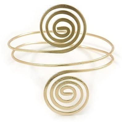 Avalaya Gold Tone Crystal Flower and Swirl Circle Upper Arm, Armlet Bracelet - 27cm L