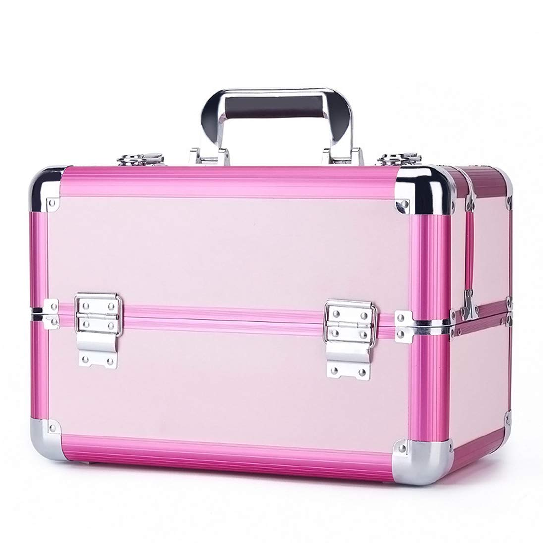 KERVINJESSIE Large Space Storage Beauty Cosmetic Box Make up Nail Jewelry Cosmetics Organiser Vanity Case (Color : Pink)