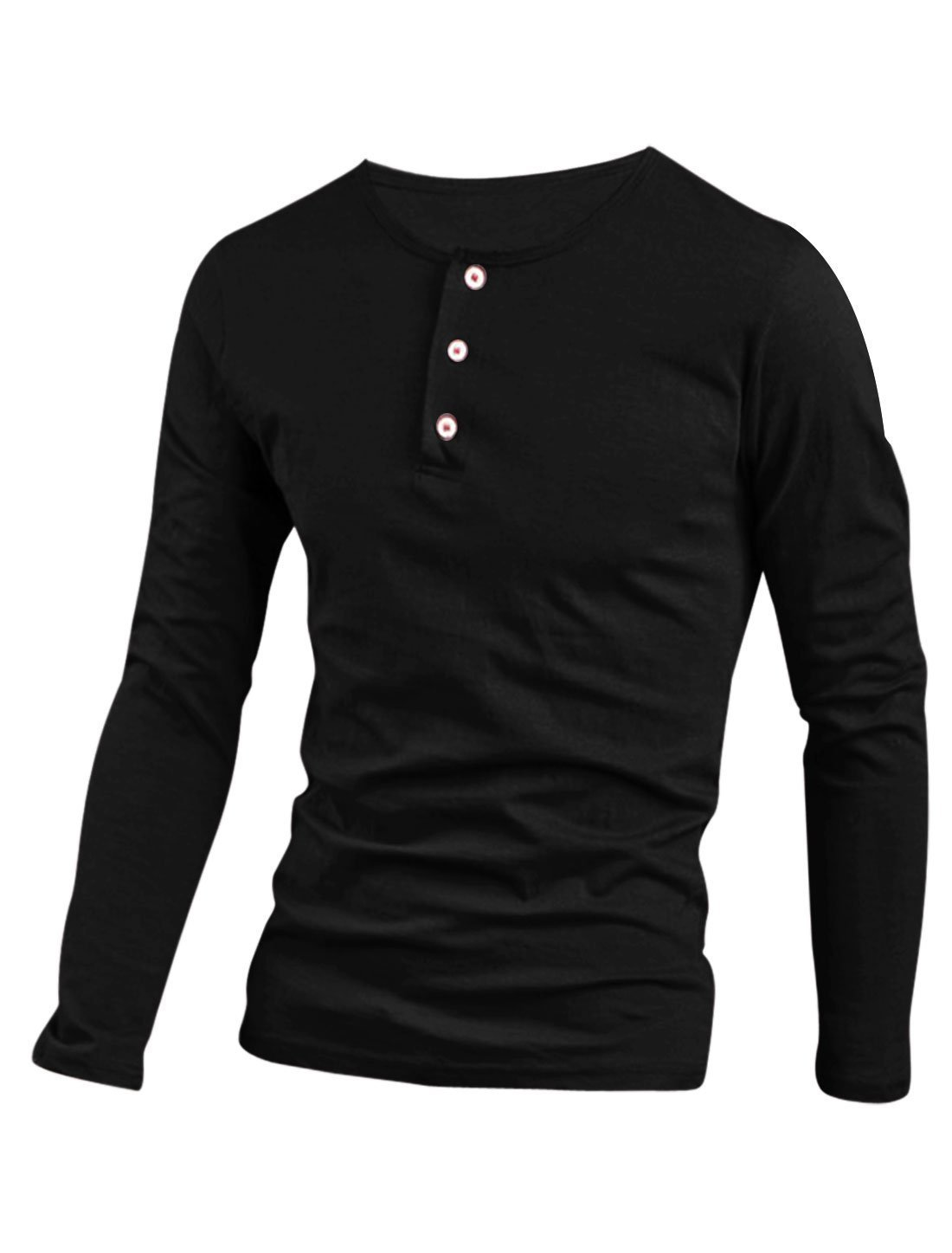 uxcell Men Casual Slim Fit Tunic Button Down Long Sleeve Henley Tee T Shirts g14080100ux0003