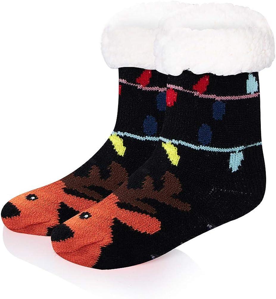 Belovecol Navidad Calcetines Linda Mullido Animal De punto Acogedor Negro Alce Calcet/ín Invierno Antideslizante Calcetines para Ni/ño Ni/ña