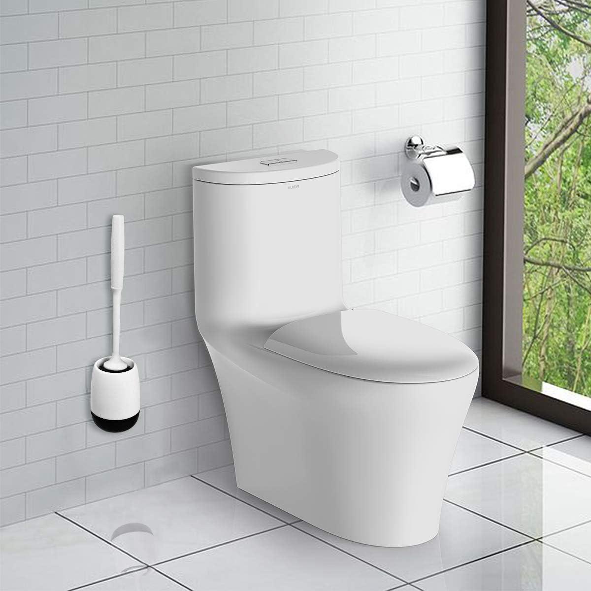 Brosse WC en Silicone Antibact/érienne Balayette,Brosse de Toilettes /à S/échage Rapide et R/écipient pour Salle de Bain avec Support Murale Vicloon Brosse de Toilette Bleu