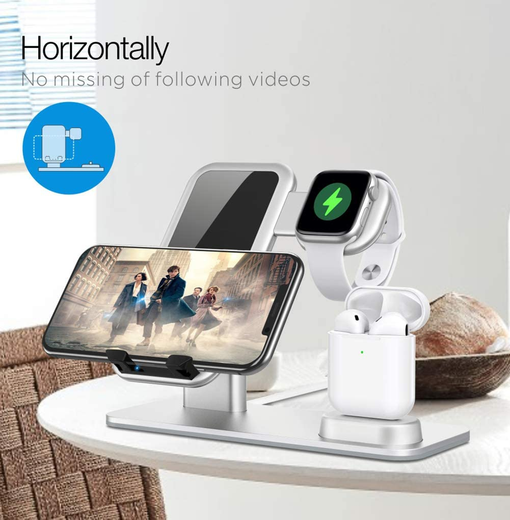 3 in 1 Caricatore Wireless, MRYX15W Qi Ricarica Wireless, Caricabatterie Rapido Wireless Charger per iWatch, iPhone 11/11 PRO Max/XS IWatch Series 5/4/3/2/1, Airpods 1/2/Pro Silver
