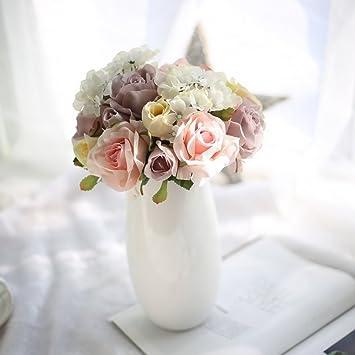 Amazon De Lukis Blumenstrauss Kunstlich Rosen Kunstblume Deko
