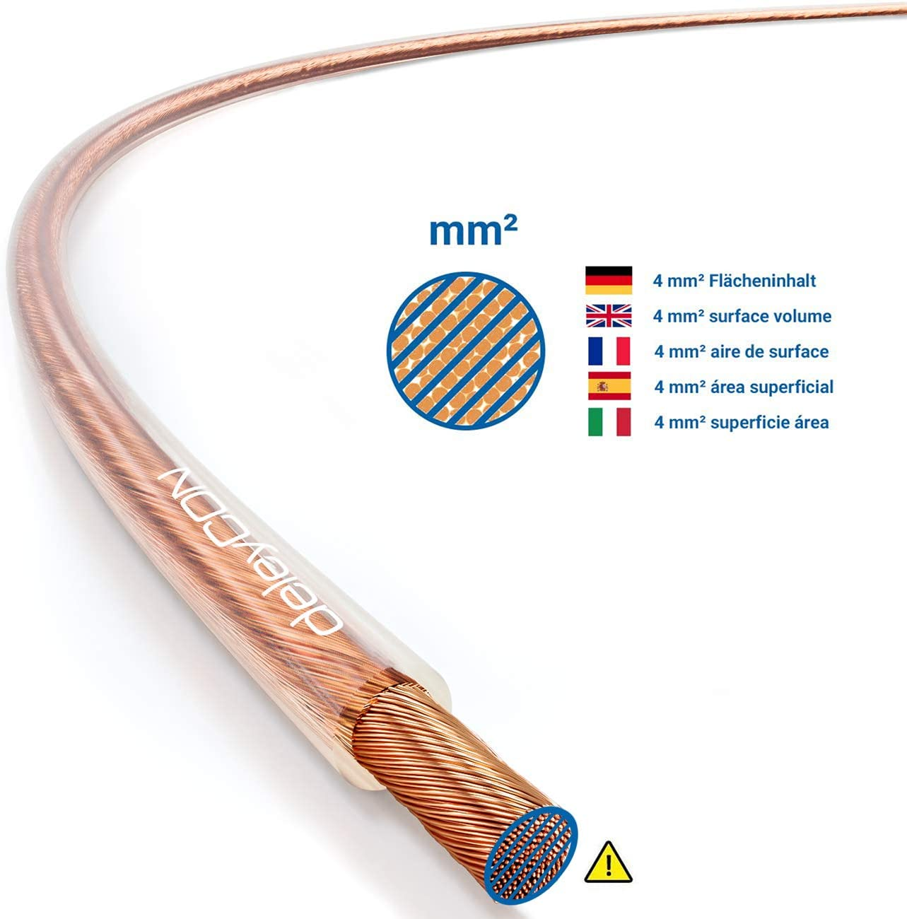 deleyCON 20m de Cobre Cable de Altavoz 2X 4,0mm/² Cables de Foso Cable de Cobre S/ólido Aislado 99,9/% Pureza Marca de Polaridad 2x132x0,20mm Alambre Trenzado Blanco