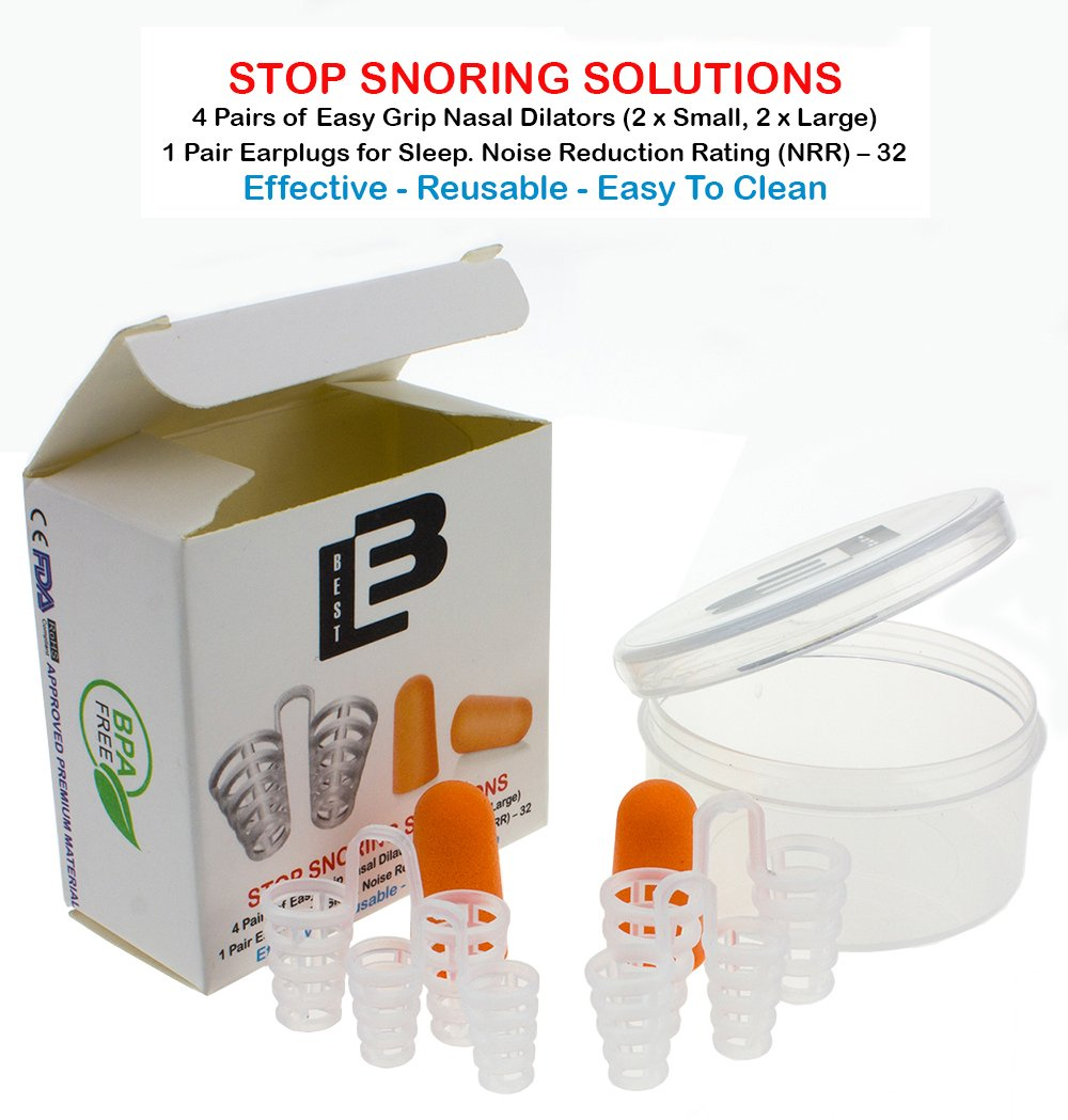Anti Snoring by Lebbest for Natural and Comfortable Sleep Nose Vents Sleep Aid Device Set of 4 Anti Snore - 1 Earplugs for Sleep in Travel Case - Fine Grade Silicone by LEB BEST 3 (Image #4)