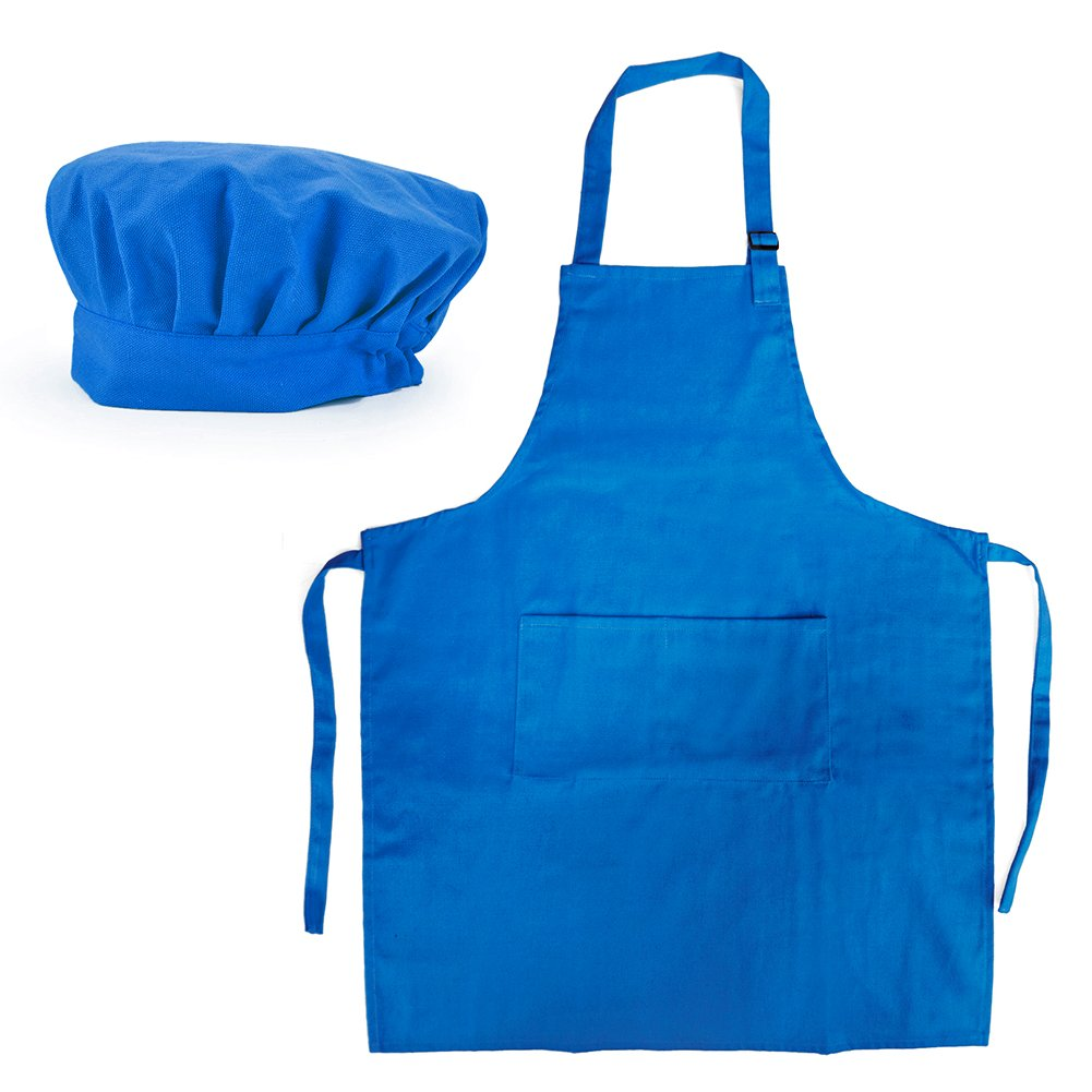 Opromo 6-Pack Cotton Canvas Adjustable Apron and Chef Hat Set-Blue-XL