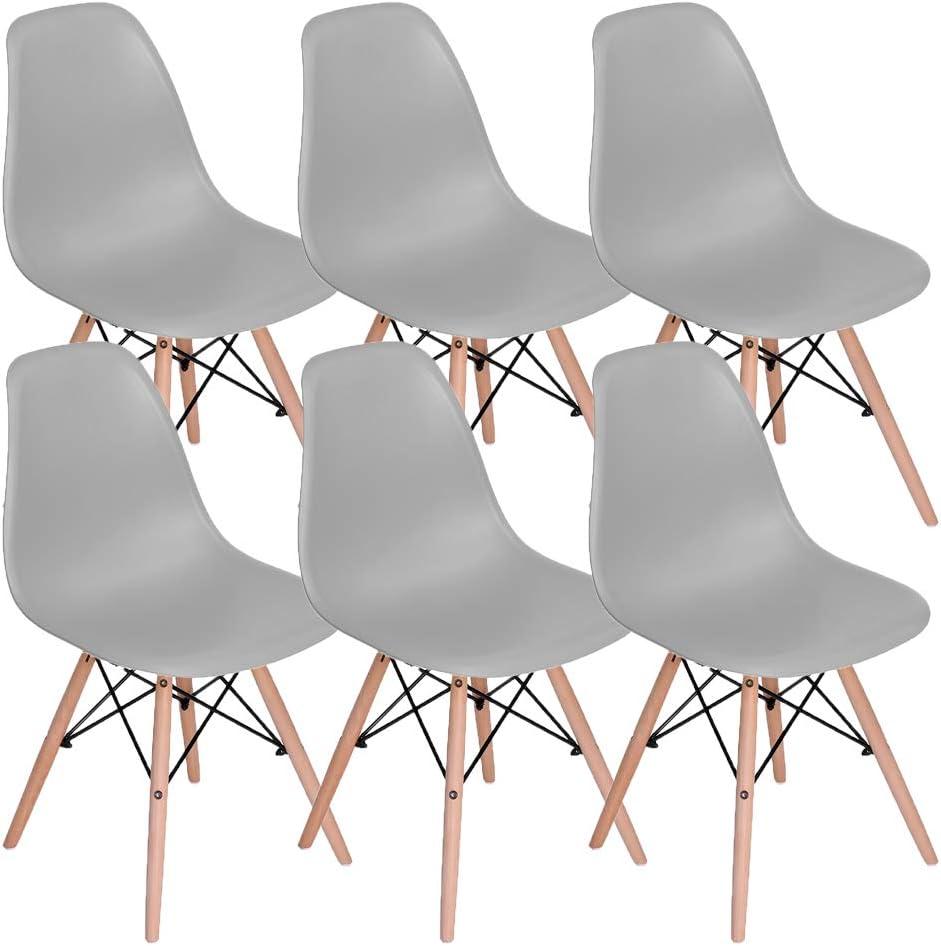 MUEBLES - Juego de 6 sillas de comedor para el hogar (6 unidades, con patas de madera, para comedor, dormitorio, sala de estar, sillas montadas en el lado (gris)