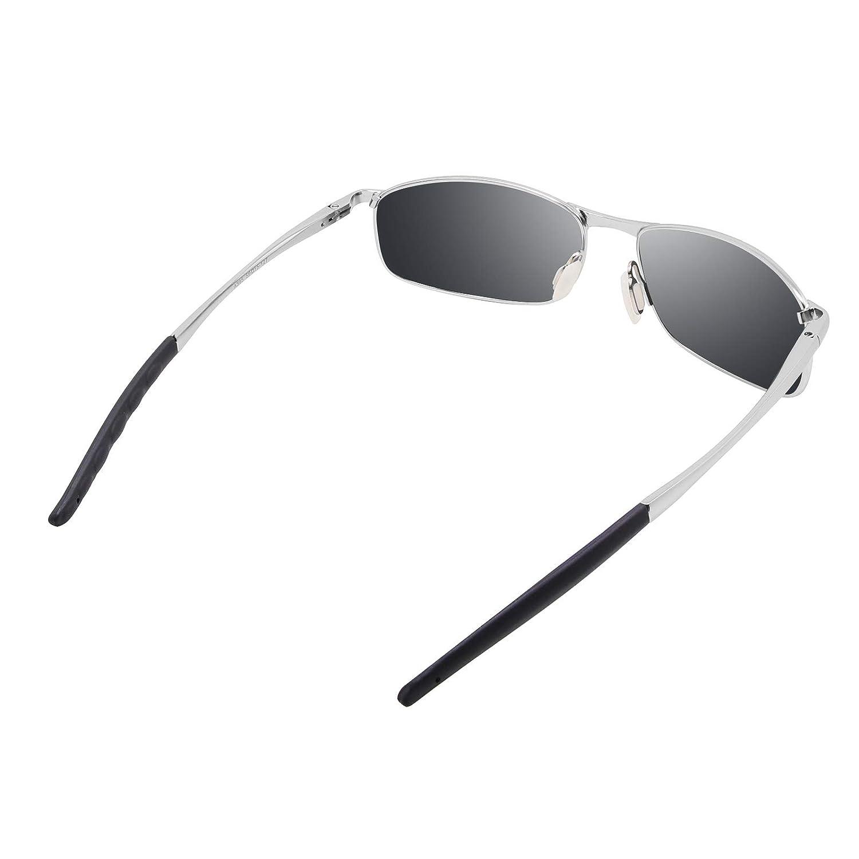 WHCREAT Cl/ásico Unisex Gafas De Sol Polarizadas con Ultra-Light Ajustable Marco de Metal HD Lente para Hombre y Mujer Plata Marco Negro Lente