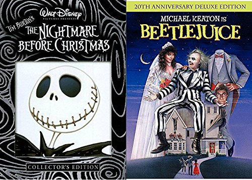 Tim Burton Beetlejuice Movie DVD & The Nightmare Before Christmas Weird Fantasy Action Bundle Fun set IT'S - Best Of Remakes Time All