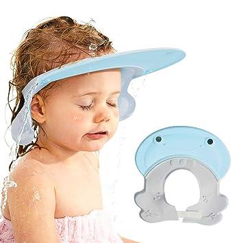 Adjustable Shower Cap Kids Infants Soft Protection Funny Safety Visor Cap for Toddler Children Blue Baby Shower Cap Bathing Cap