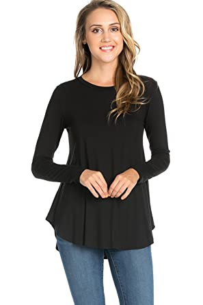 Azules Women's Long Sleeve Flowy Tunic, Small, Black