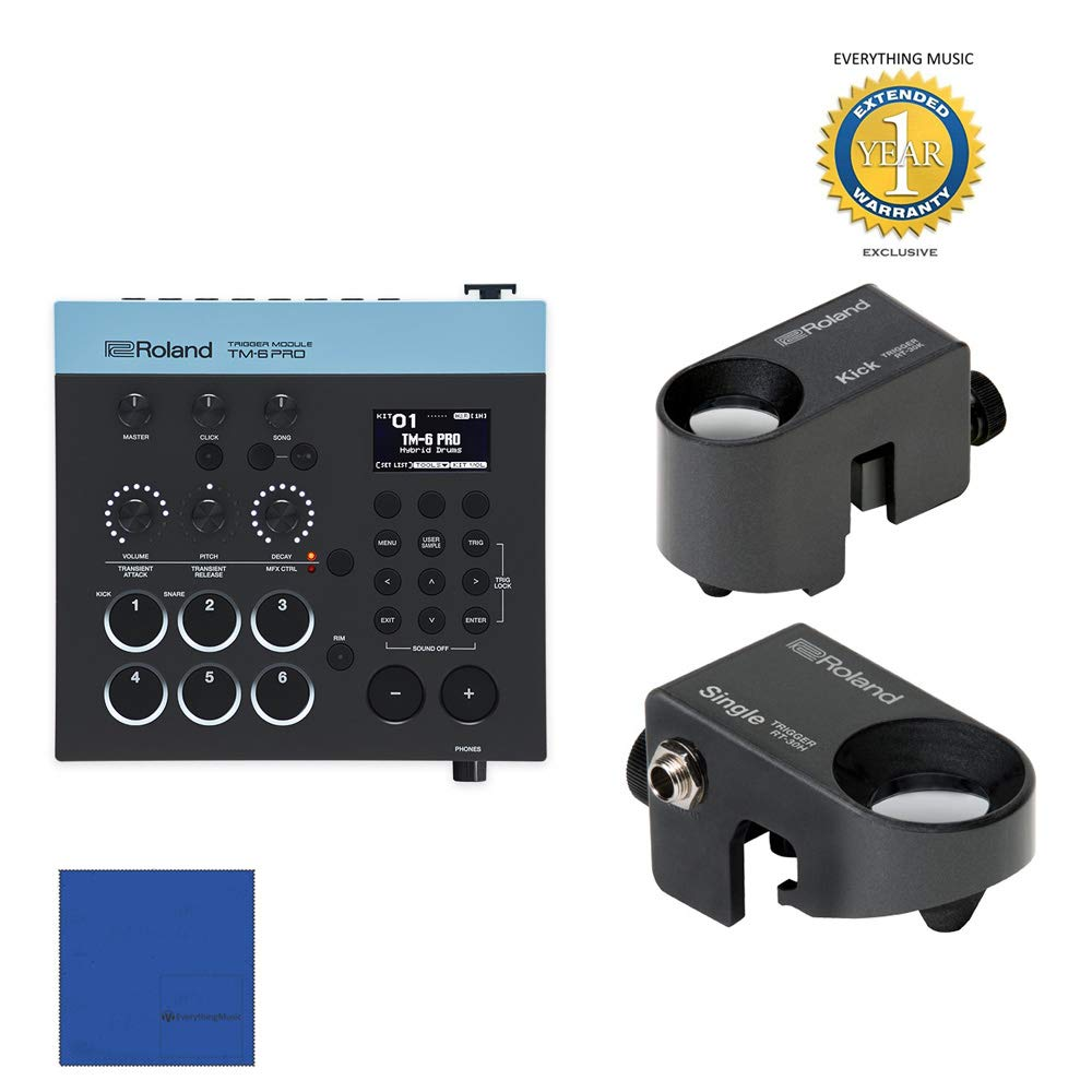 Roland TM6Pro Trigger Module with Roland RT-30K Acoustic Drum Trigger & (2) Roland RT-30H Triggers Bundle with 1 Year Free Extended WarrantyandMicrofiber