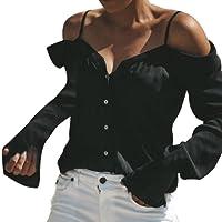 MVPKK Chemise Femme Chemise Épaules Nues Femme Chemise Chic Hoodie Pull Tops Hauts T-Shirt Blouse Chemise en Mousseline de Soie Chemisier à Manches Longues Chemise de Sangle