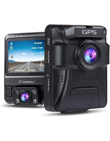 Crosstour Dashcam Lente Dobles GPS Incorporado Cámara de Coche 1080P Frontal 720P Interior Monitoreo de Estacionamiento