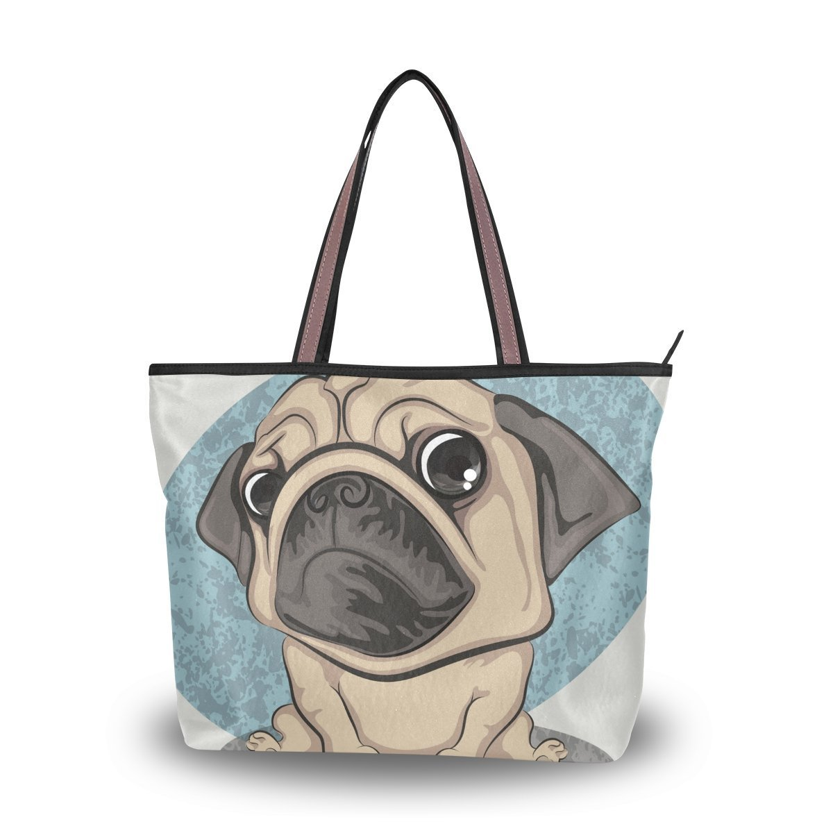 Cute Pug Tote Bags Women's Stylish Travel Totes Fabric Zippered Tote for Shopping Handbag