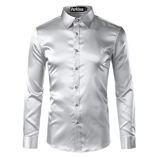 Amazon.com: 2018 Fashion Mens Slim Fit Long Sleeve Emulation Silk Button Down Dress Shirt Red: Clothing