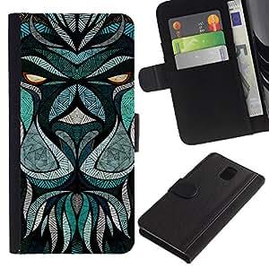 KLONGSHOP / Tirón de la caja Cartera de cuero con ranuras para tarjetas - Teal Abstract Animal Eyes Cartoon - Samsung Galaxy Note 3 III N9000 N9002 N9005
