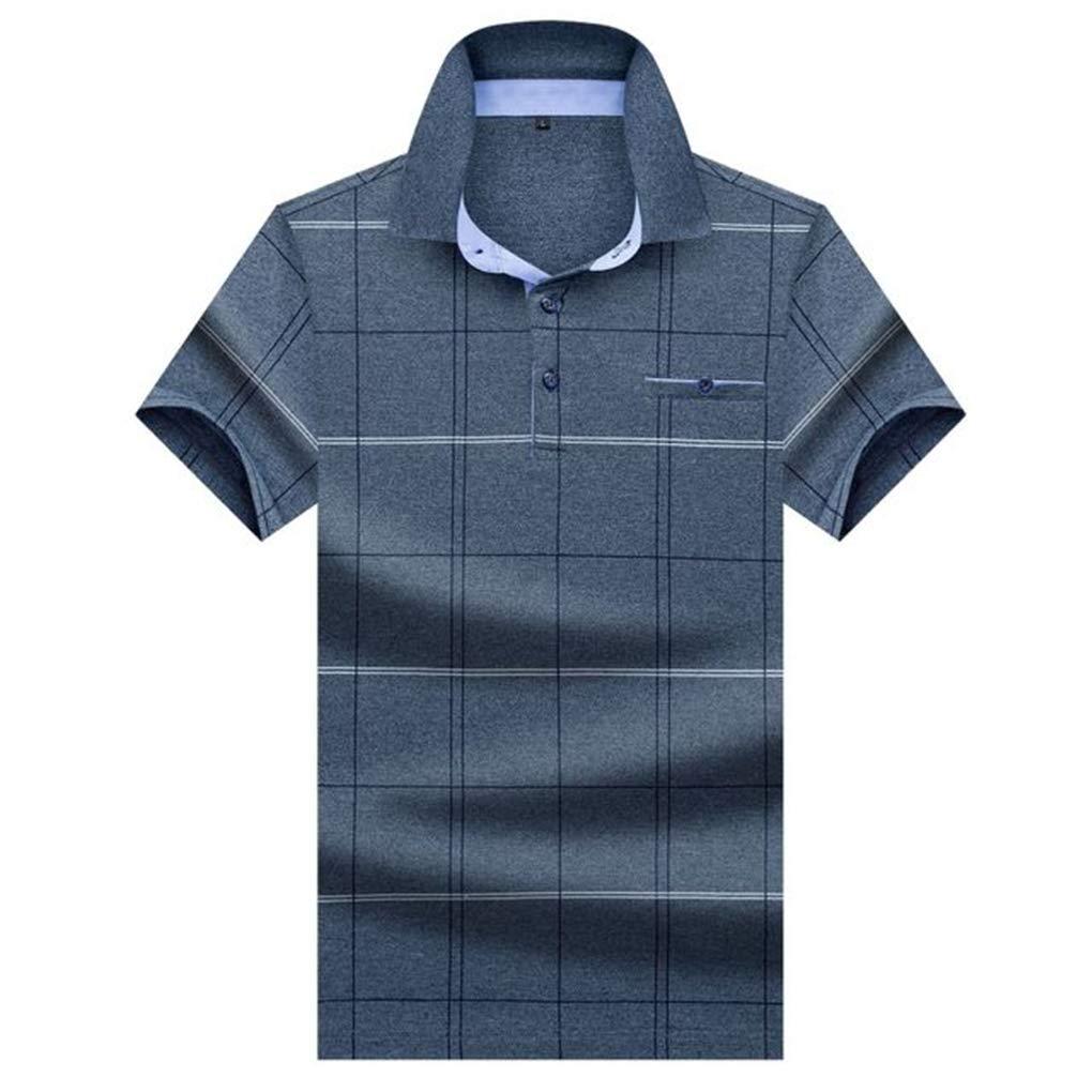 Summer Mens Striped T-Shirt Stand Collar Thin Top Print Casual Polo Shirt