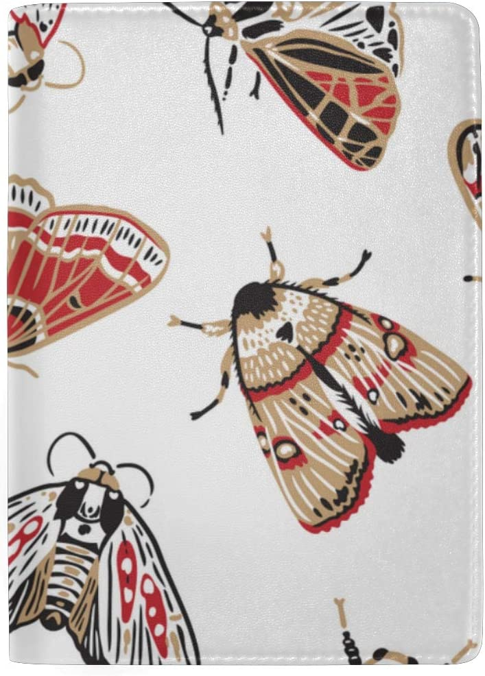 Beautiful And Bright Cartoon Moth Blocking Print Passport Holder Cover Case Travel Luggage Passport Wallet Card Holder Made With Leather For Men Women Kids Family
