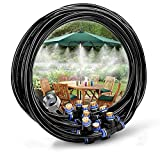 DAPRIL Outdoor Misting Cooling System 26.2FT (8M) Misting Line + 9 Brass Mist Nozzles + a Brass Adapter (3/4) for Patio Garden Greenhouse