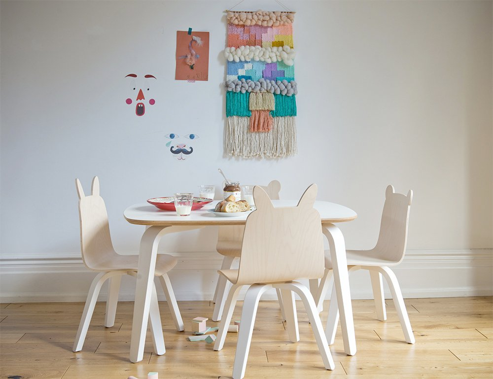 Oeuf Bear Play Chairs and Table Set in Birch