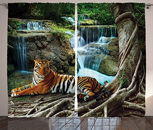 Ambesonne Safari Decor Collection, Indochina Tiger Lying with Relaxing under Banyan Tree Against Limestone Waterfalls Picture, Living Room Bedroom Curtain 2 Panels Set, 108 X 90 Inches, (Safari Bedroom Decor)