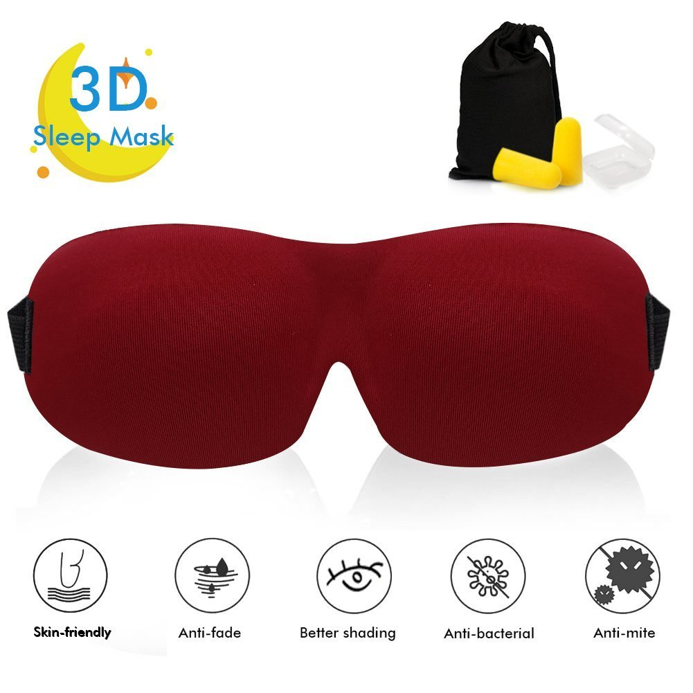3D Sleep Mask 3-in-1 for Men and Women, Lightweight & Comfortable, Super Soft and Adjustable Strap, 3D Contoured Eye Mask for Sleeping, Travel, Shift Work and Naps, Cheap but Premium Quality. (Red)