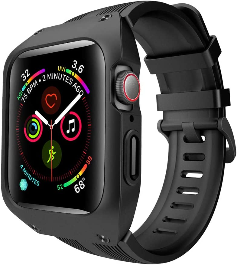 VANCHAN Compatible with Apple Watch Bands 42mm Series 3, Sport Soft Silicone Band with Protective Case Cover Men Women for iWatch Series 3 42mm (Black)