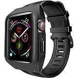 SHUIBIAN Apple Watch Series 4 44mm / アップルウォッチ4 44mm ケース 丈夫 保護カバー バント付き 交換apple watch バンド ストラップ アップルウォッチ シリーズ 4 対応(ブラック)