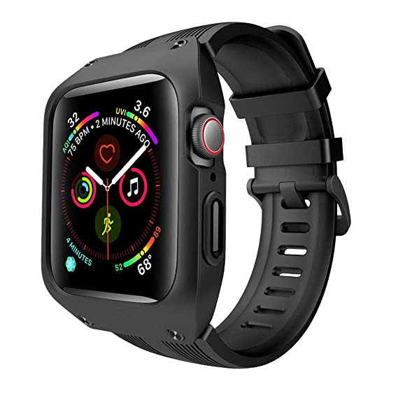 the latest f1e58 91329 VANCHAN Compatible Apple Watch Band 44mm with Case, Sport Soft Liquid  Silicone Replacement iWatch Series 4 Bands with Shock-Resistant Protective  Cover ...