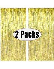 ستارة معدن فويل بلون ذهبي للحفلات، ستارة خلفية بشراشيب لمقصورة التصوير بطول 2 متر، ستائر باب مثالية للتزيين الحفل - لون ذهبي