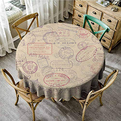 "Rank-T Round Tablecloth Cloth 55"" Inch Round Vintage,Retro Design Inspired Postage Illustration with Beige Background Antique Stamps Multicolor Machine"
