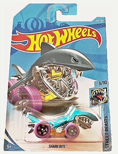 Hot Wheels 2018 50th Anniversary Street Beasts Shark Bite (Shark Car) 164/365, Aqua Blue (Shark Car Toy)