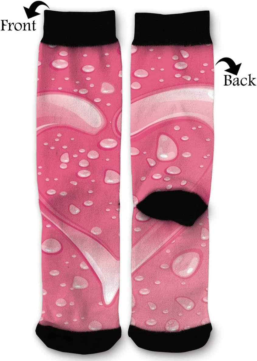 EKUIOP Socks Pink Hearts Water Funny Fashion Novelty Advanced Moisture Wicking Sock for Man Women
