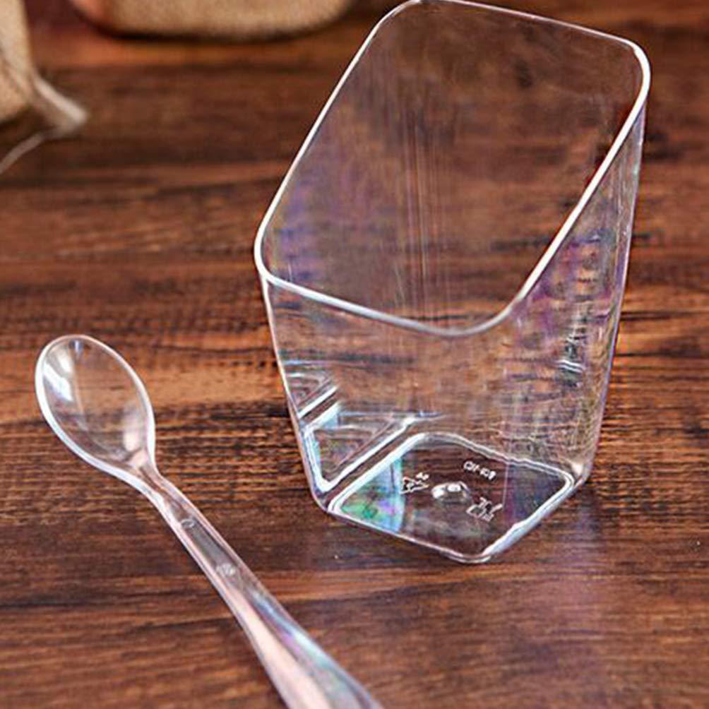 UPKOCH Coppette da Dolce Tazze Dessert Pirottini Cupcake Contenitore Trasparenti Stoviglie Monouso per Jelly Tiramisu Mousse 80ML