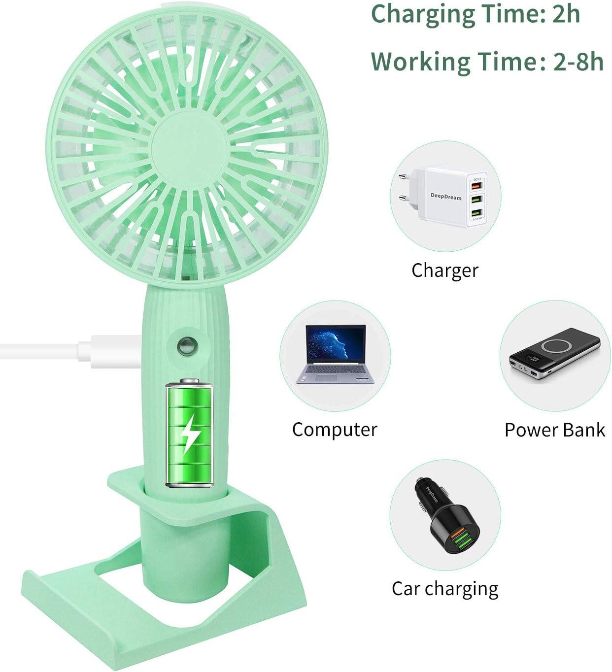 DeepDream Mini Handheld Fan Misting Personal Fan While USB Desk Colorful Nightlight Fan for Kids Girls Woman Man Home Office Outdoor Travel Small Portable Spray Fan Speed Adjustable
