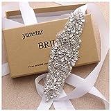 Yanstar White Bridesmaid dress Belt Sash Hand Beads Wedding Dress Belt Sash For Bridal Gowns