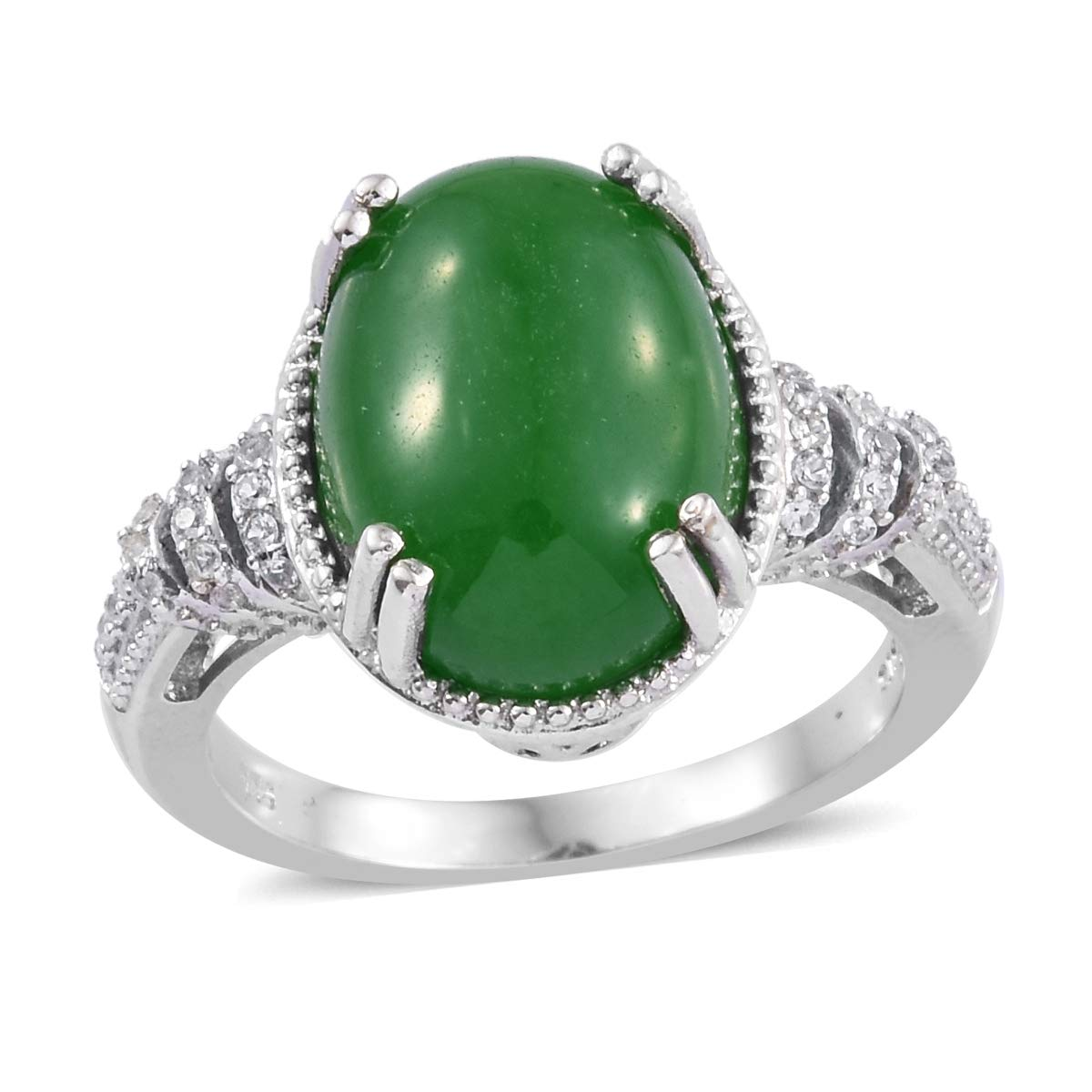 Promise Ring 925 Sterling Silver Platinum Plated Green Jade Zircon Jewelry Gift for Women Size 6 by Shop LC Delivering Joy