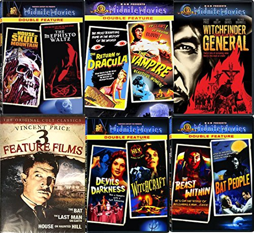 Vampires & Witchcraft Midnite 12 Movies Vincent Price DVD Set Witchfinder General / Last Man on Earth / The Return of Dracula / The Beast Within / Devils of Darkness / The Bat Classic Horror Films by Midnite Movies