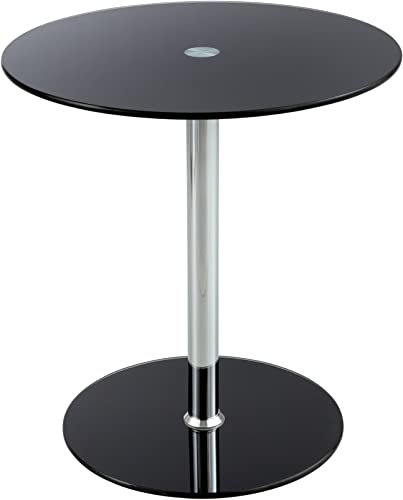 Safco Products Glass Accent Table, Black