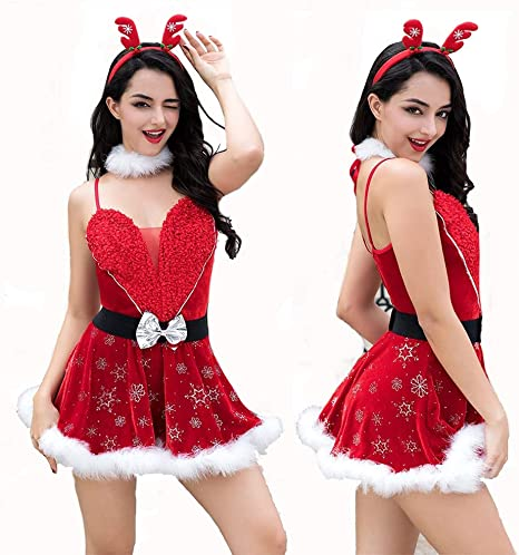 HJG Disfraz de Papá Noel para Mujer, Disfraz de Duende, Traje Sexy ...