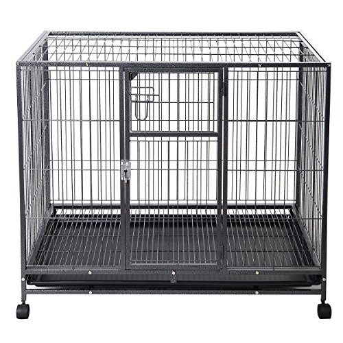 Goplus 44''L x 29''W Metal Wire Pet Crate Dog Cat Cage Suitcase Exercise Playpen