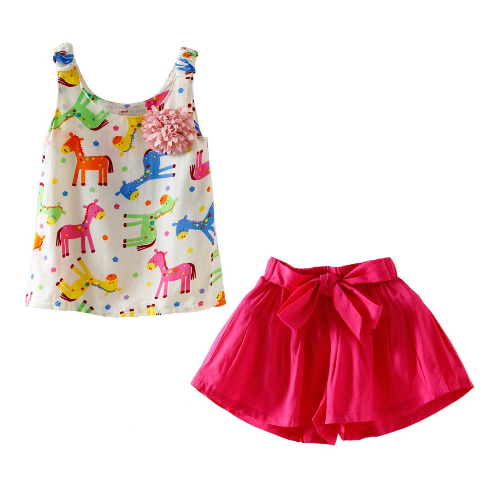 Mud Kingdom Little Girls Outfits Summer Holiday Pony Flower Tank Tops and Short Sets S-T0102