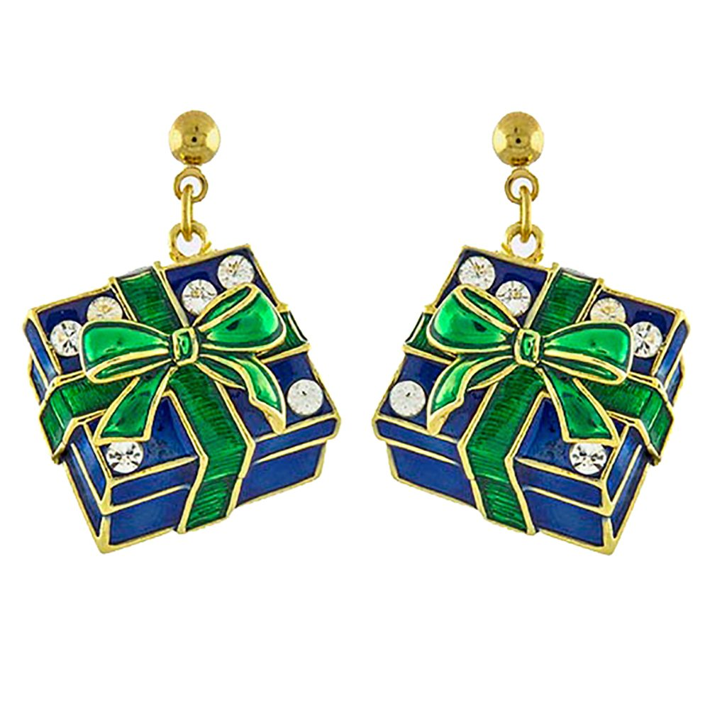 ACCESSORIESFOREVER Christmas Jewelry Holiday Crystal Rhinestone Gift Box Earrings E1143 Green